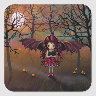 Spook Little Halloween Vampire and Cat Fantasy Art Square Sticker
