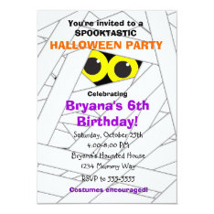 Spookable Mummy Kids Halloween Party Invitations at Zazzle