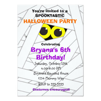 spookable mummy kids halloween party invitations