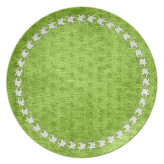 """""""Spookaliza"""" the Halloween Blue-eyed Ghost Green Dinner Plate"""