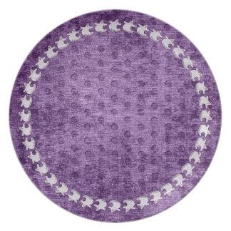 """Spookaliza"" the Halloween Blue-eyed Ghost Purple Dinner Plate"