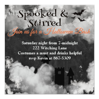Spooked and Stirred Halloween Party 5.25x5.25 Square Paper Invitation Card