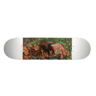 spooked bull painting skateboard
