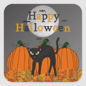 Spooked Kitty Halloween Stickers