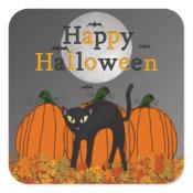 Spooked Kitty Halloween Stickers