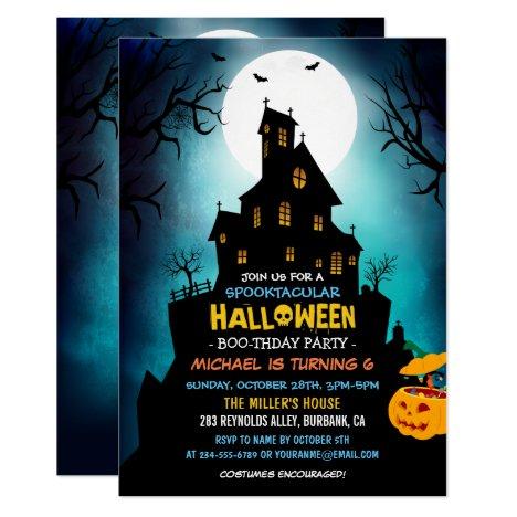 SPOOKTACULAR Costume Kids Halloween Birthday Party Card