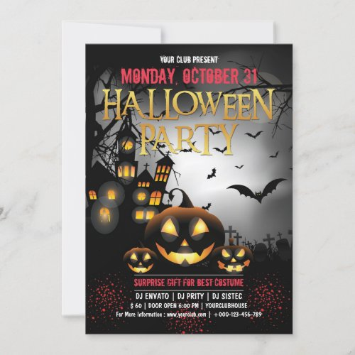 Spooktacular Dark Haunted House Halloween Invitation