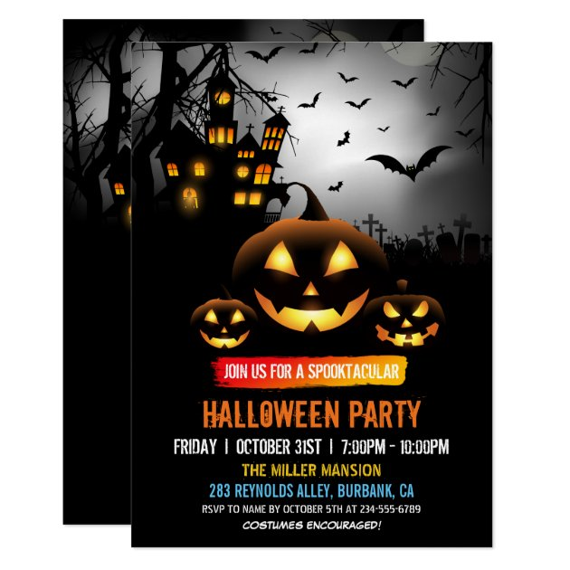 Spooktacular Dark Haunted House Halloween Party Card (front side)