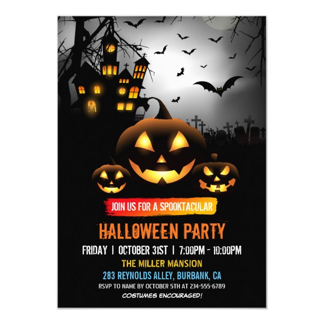 Spooktacular Dark Haunted House Halloween Party Card (back side)