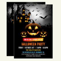Spooktacular Dark Haunted House Halloween Party Invitation