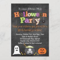Spooktacular Halloween Party Chalkboard Invitation