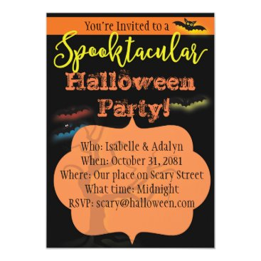 Beach Themed Spooktacular Halloween Party Invitation with Bats