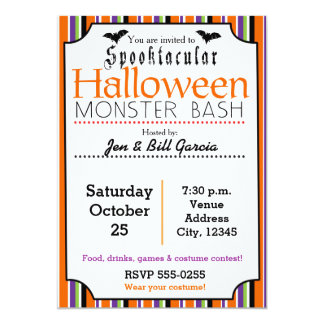 Spooktacular Halloween Party Striped Invitation
