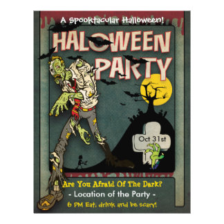 Spooktacular Halloween Zombie Party Flyer
