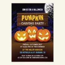 Spooktacular Pumpkin Carving Halloween Party Invitation