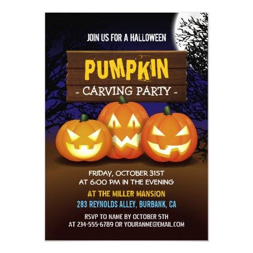 Spooktacular Pumpkin Carving Halloween Party Invitation