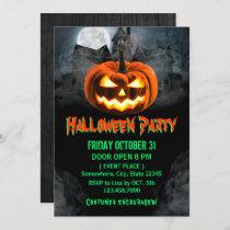 Spooktacular Pumpkin Haunted House Halloween Party Invitation