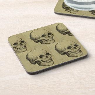 Spooky Aged Halloween Skulls Repeating Pattern Beverage Coaster
