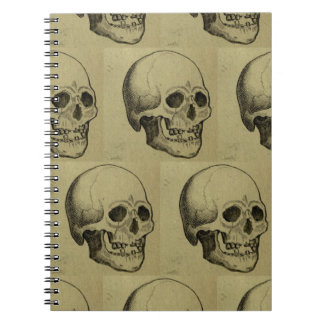 Spooky Aged Halloween Skulls Repeating Pattern Spiral Notebook