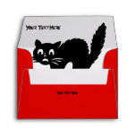 spooky angry blood red cat picture halloween envelope