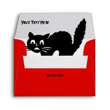 Halloween Themed spooky angry blood red cat picture halloween envelope