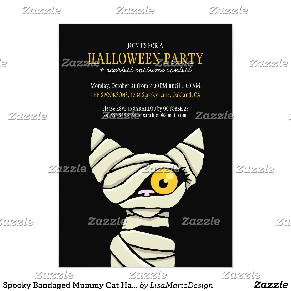 Spooky Bandaged Mummy Cat Halloween Party