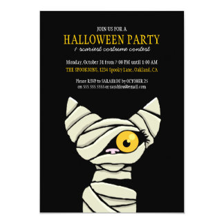 Spooky Bandaged Mummy Cat Halloween Party Card