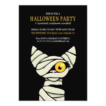 LisaMarieDesign Spooky Bandaged Mummy Cat Halloween Party Card