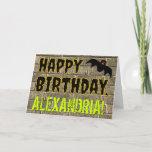 "[ Thumbnail: Spooky Bat Halloween Inspired ""Happy Birthday"" Card ]"