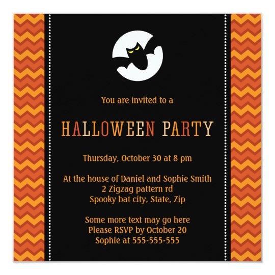 Spooky bat moon elegant chevron zigzag Halloween Card