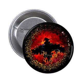 Spooky Bat on Fire Pinback Buttons