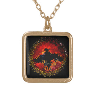 Spooky Bat on Fire Gold Plated Necklace