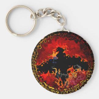 Spooky Bat on Fire Keychain