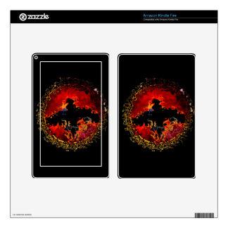 Spooky Bat on Fire Kindle Fire Skins