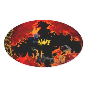 Halloween Themed Spooky Bat on Fire Oval Sticker