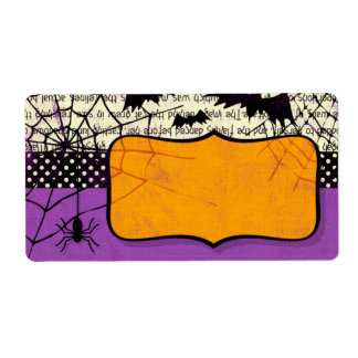 Spooky Bats Halloween Name Tag Label