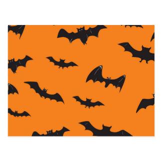 Spooky Bats on Orange Postcard