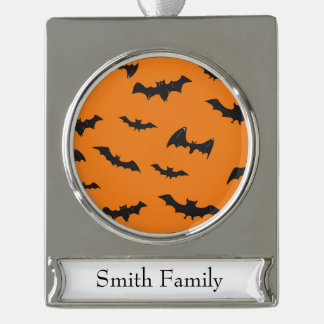 Spooky Bats on Orange Silver Plated Banner Ornament