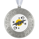 Spooky Bats Round Pewter Christmas Ornament