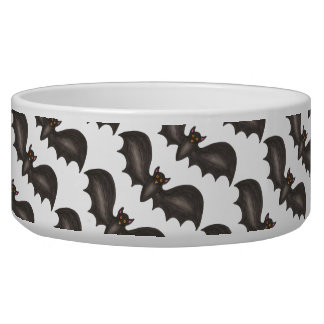 Spooky Black Bat Bats Happy Halloween Pet Bowl