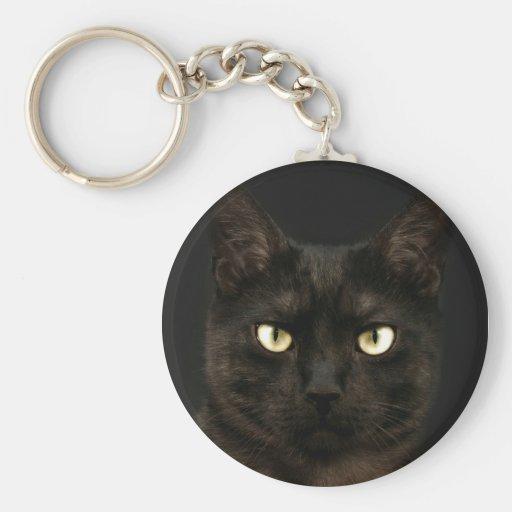 Spooky black cat basic round button keychain