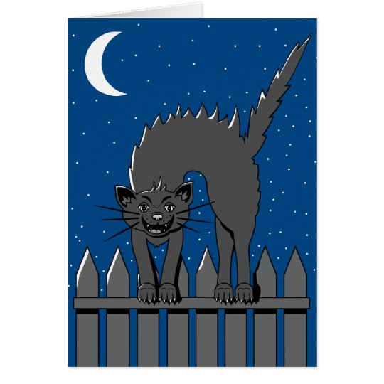 Spooky Black Cat Card