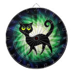 Spooky Black Cat Dartboard With Darts