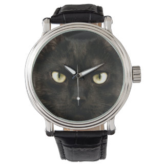 Spooky black cat face wrist watches