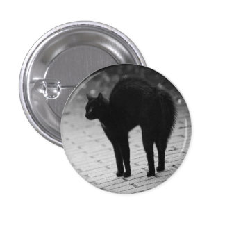 Spooky Black Cat Goth button pin