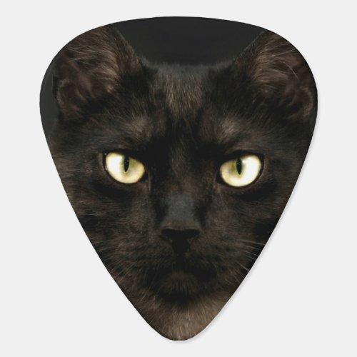 Spooky black cat guitar pick