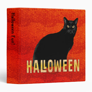 Spooky Black Cat Halloween 1.5 inch 3 Ring Binder