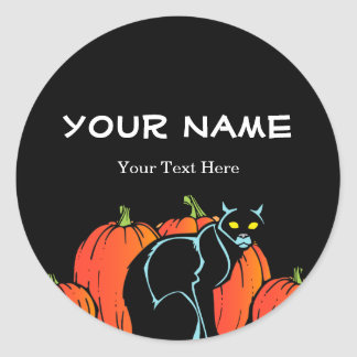 Spooky Black Cat Halloween Round Stickers