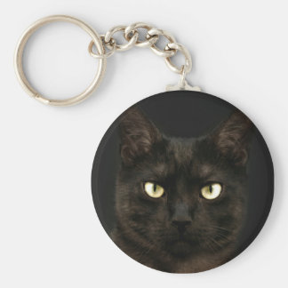 Spooky black cat keychain