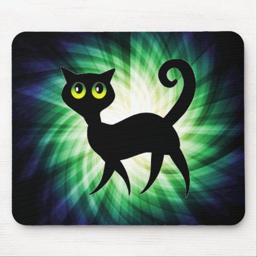 Spooky Black Cat Mouse Pad